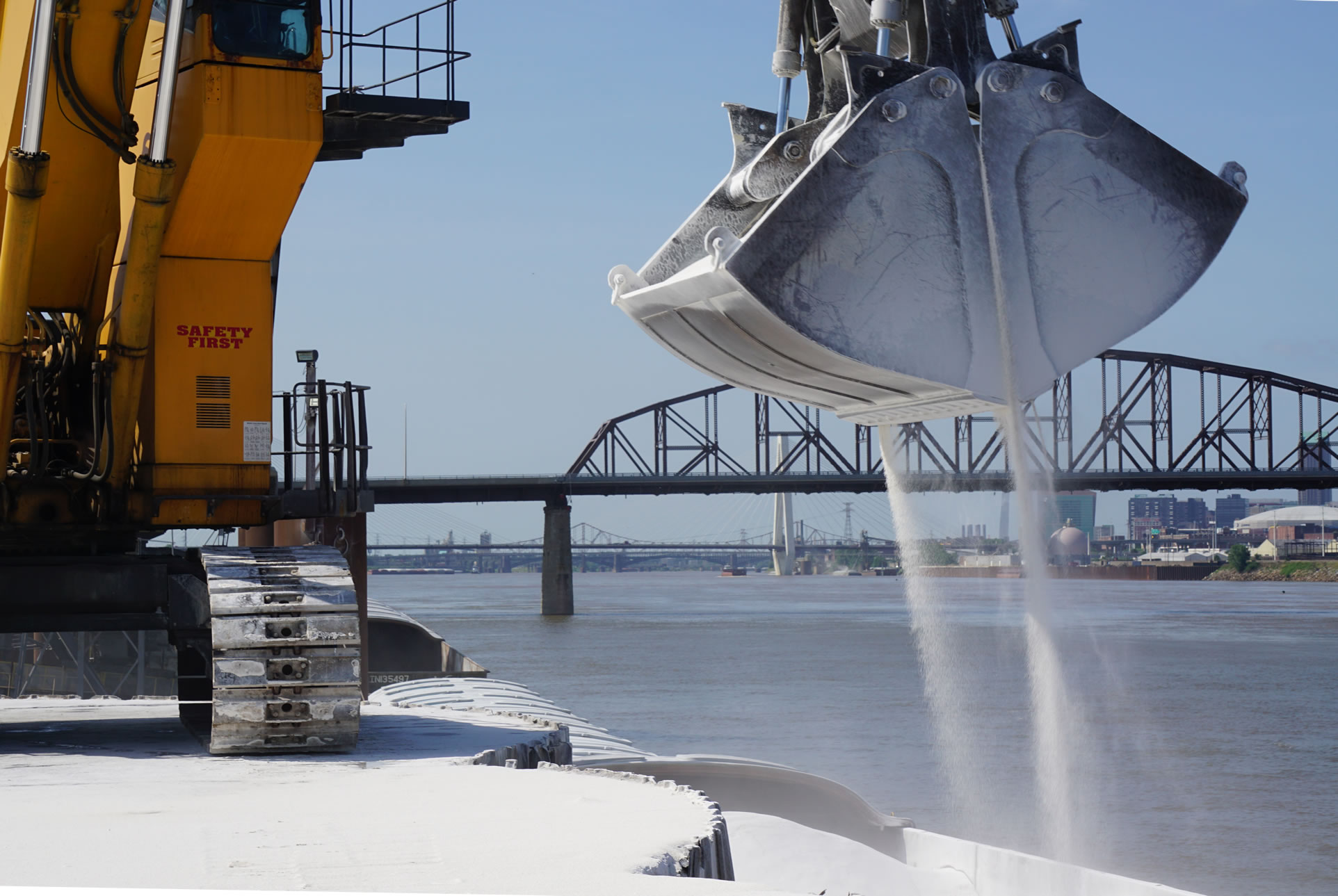 Photo of phosphate bound for our Madison facility being unloaded from a barge near St. Louis