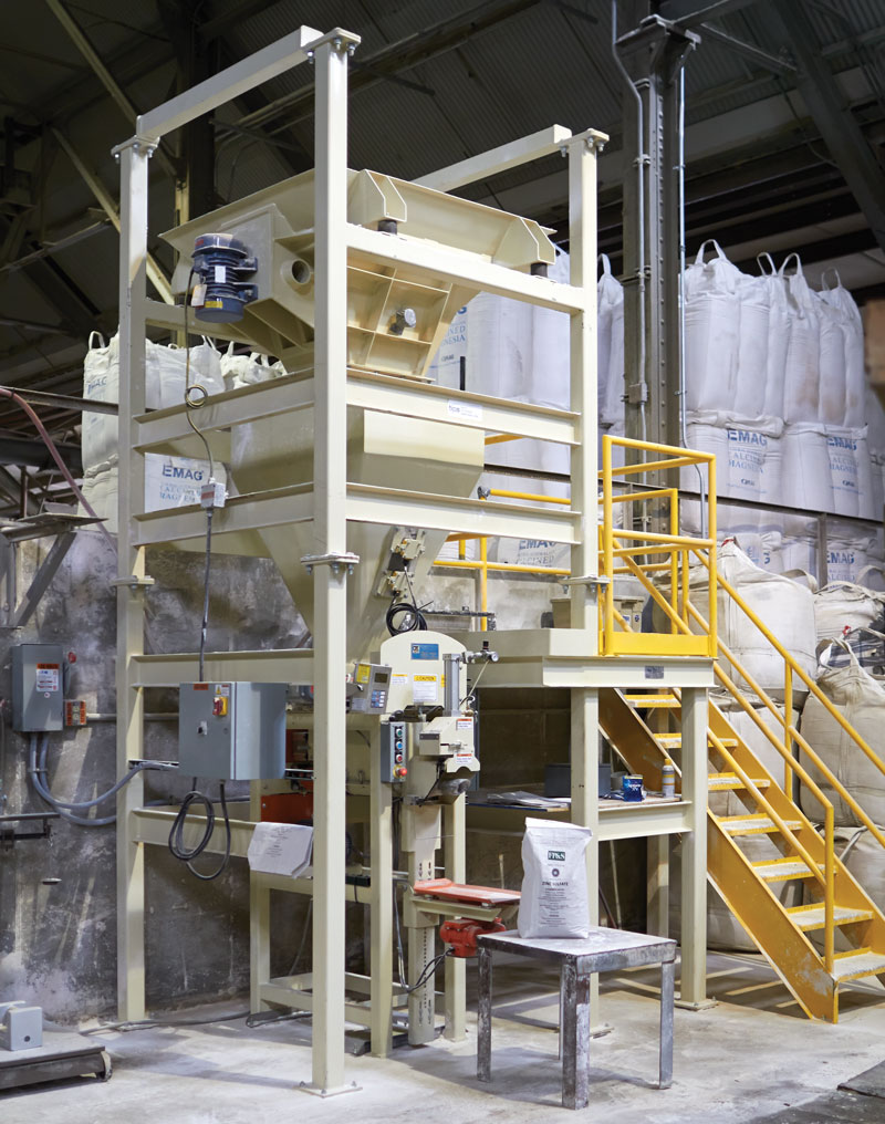 Photo of the bulk bagging machinery at our Madison plant